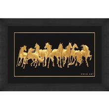 تابلوي طلاکوب زرسام طرح Herd Of Horse سايز کوچک