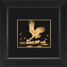 تابلوی طلاکوب زرسام طرح Eagle 3D سایز 40 × 35 سانتی متر