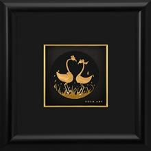 تابلوي طلاکوب زرسام طرح Two Gooses Little Round سايز 25× 25 سانتي متر