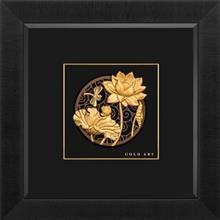 تابلوی طلاکوب زرسام طرح گل نیلوفر و سنجاقک سایز 38 × 38 سانتی متر