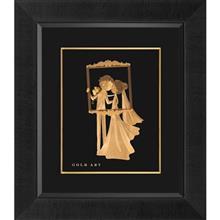 تابلوی طلاکوب زرسام طرح عروس و داماد سایز 35 ×40 سانتی متر