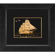 تابلوی طلاکوب زرسام طرح Multiple Ships Sail Horizental سایز 40 × 35 سانتی متر