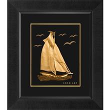 تابلوی طلاکوب زرسام طرح Single Sail Boat سایز 40 × 35 سانتی متر