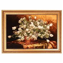 تابلوفرش چلهابریشم گالری مثالین طرح گلدان گل لاله کد 25026