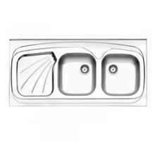 سینک آشپزخانه روکار 270 استیل البرز دو لگن راست (سایز 52*116)
