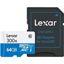 Lexar High-Performance UHS-I U1 Class 10 45MBps 300X microSDXC With Adapter - 64GB