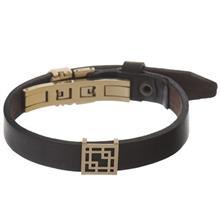 دستبند چرمی الف دال طرح 39 با پلاک طلا