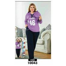 لباس راحتی زنانه سایز بزرگ پولکان کد10043