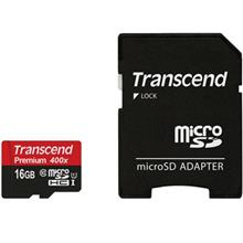 Transcend Premium UHS-I U1 Class 10 60MBps 400X microSDHC With Adapter - 16GB