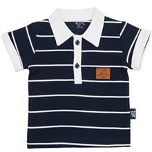 تی شرت آستین کوتاه نوزادی نیلی مدل Navy Blue Stripes