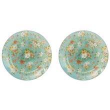 بشقاب خورش خوری شیشه ای گل دار گالری سیلیس مدل 180006 مجموعه دو عددی