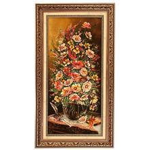 تابلو فرش چله ابریشم گالری مثالین مدل 25054 طرح گلدان گل