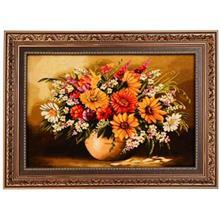 تابلوفرش چله ابریشم گالری مثالین مدل 25060 طرح گلدان سفالی