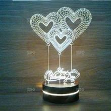 چراغ خواب سه بعدی طرح قلب کد 01