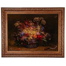 تابلوفرش چله ابریشم گالری مثالین طرح سبد گل کد 25021