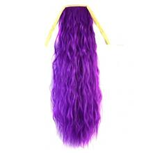 Abwin Purple Color Long Ponytail Pony Curly Wave Clip Tie