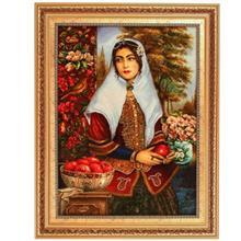 تابلوفرش چله ابریشم گالری مثالین طرح دختر قاجار کد 25038