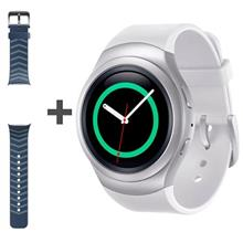 Samsung Gear S2 SM-R720 Silver Smart Watch with Navy Rubber Band