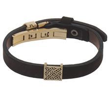 دستبند چرمی الف دال طرح 37 با پلاک طلا