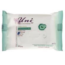 دستمال مرطوب پاک کننده آرايش مدل Dry And Sensitive Skin بسته 20 عددي