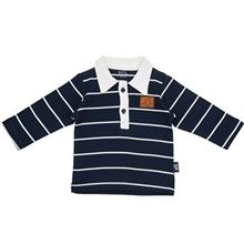 تي شرت آستين بلند نوزادي  نيلي مدل Navy Blue Stripes
