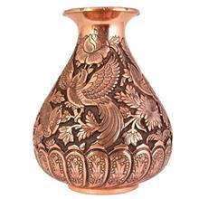 گلدان قلمزنی قهرمانی کد 165017 طرح گل و مرغ