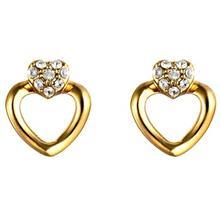 گوشواره میخی الیور وبر مدل Cuore Gold Crystal 22181