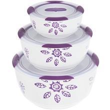 ست 3 تکه ظرف نگهدارنده باريکو مدل Round Purple Jasmine