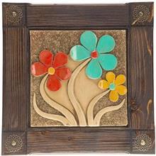 تابلو دیواری کارگاه خاکاب طرح سه گل کد 26