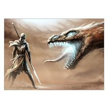 تابلوی ونسونی طرح Knight Fighting Dragon سایز 30x40