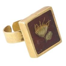 انگشتر برنجی رزینی گالری پر گل کد 187015 گیاه پیر گیاه