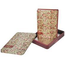 دفتر یادداشت کلیپس طرح گل رز زمینه کرم به همراه جعبه
