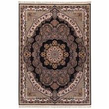 فرش ماشینی دنیای فرش طرح گیسو زمینه سورمه ای