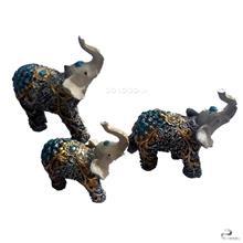 مجسمه 3 فیل هندی فیروزه ای