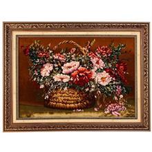 تابلو فرش گل ابریشم گالری مثالین مدل 25050 طرح سبد حصیری