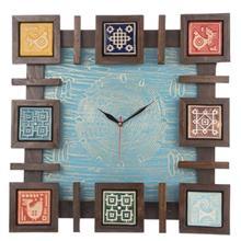 ساعت ديواري گالري اسعدي مدل مربعي رنگ فيروزه اي