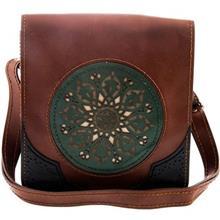 کیف دوشی چرم طبیعی گالری روژه طرح دایره سبز