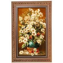 تابلوفرش گل ابریشم گالری مثالین مدل 25049 طرح گلدان لعابی