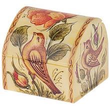 جعبه استخواني اثر بهشتي طرح گل و مرغ سايز کوچک