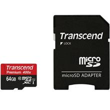Transcend Premium UHS-I U1 Class 10 60MBps 400X microSDXC With Adapter - 64GB