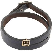 دستبند چرمی الف دال طرح 21 با پلاک طلا