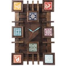 ساعت ديواري گالري اسعدي مدل چوب و سفال طرح زمينه ساده