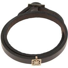 دستبند چرمی الف دال طرح  13 با پلاک طلا