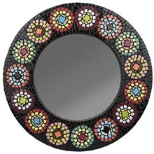 آینه گرد با قاب کاشی شکسته رنگی