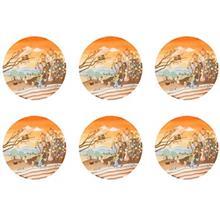 پیش دستی شیرینی خوری شیشه ای گالری سیلیس مدل 180003 طرح مزرعه مجموعه شش عددی