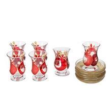 فنجان و نعلبکی شیشه ای گالری انار مدل 134109 طرح انار مجموعه شش عددی