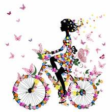 استیکر سه بعدی ژیوار طرح دختر دوچرخه سوار