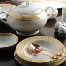 سرویس چینی 102 پارچه غذا خوری چینی زرین ایران سری ایتالیا اف مدل مهر درجه عالی