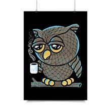 پوستر ونسونی طرح Owl I want is Coffee سایز 30x40