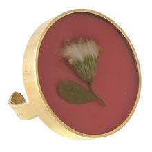 انگشتر برنجی رزینی گالری پرگل کد 187014 گل پیر گیاه